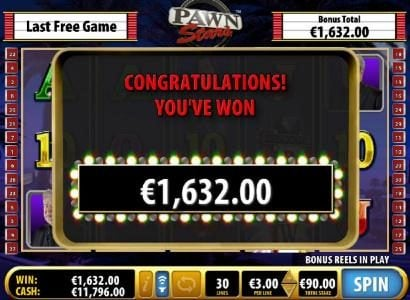The free games feature pays out a total of €1,625 for a big win.