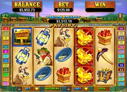 Club UK featuring the Video Slots Pay Dirt! with a maximum payout of $250,000