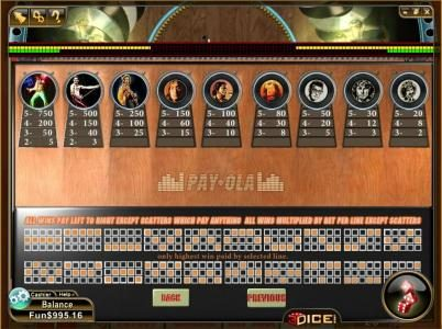Play slots at 3Dice: 3Dice featuring the Video Slots Payola with a maximum payout of $750