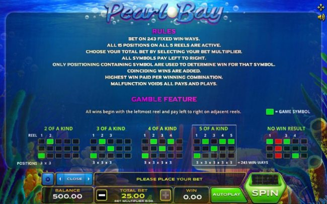 emu Casino featuring the Video Slots Pearl Bay with a maximum payout of $1,250