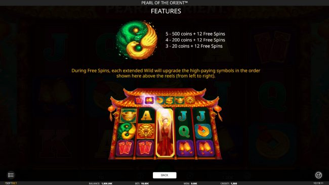 Rose Slots featuring the Video Slots Pearl of the Orient with a maximum payout of $5,000