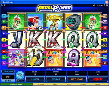 Slots Million featuring the Video Slots Pedal Power with a maximum payout of $4,000