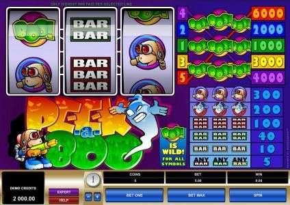 Play slots at Colosseum: Colosseum featuring the Video Slots Peek-a-Boo with a maximum payout of $30,000