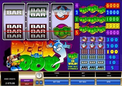 Platinum Play featuring the Video Slots Peek-a-Boo with a maximum payout of $30,000