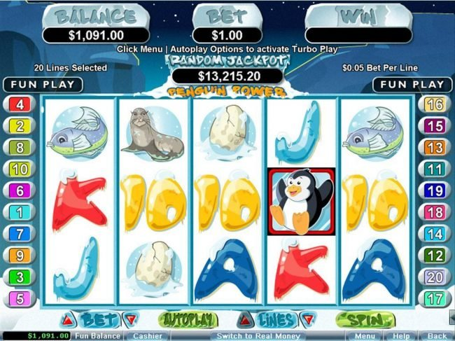 Play slots at Slots Inferno: Slots Inferno featuring the Video Slots Penguin Power with a maximum payout of $250,000