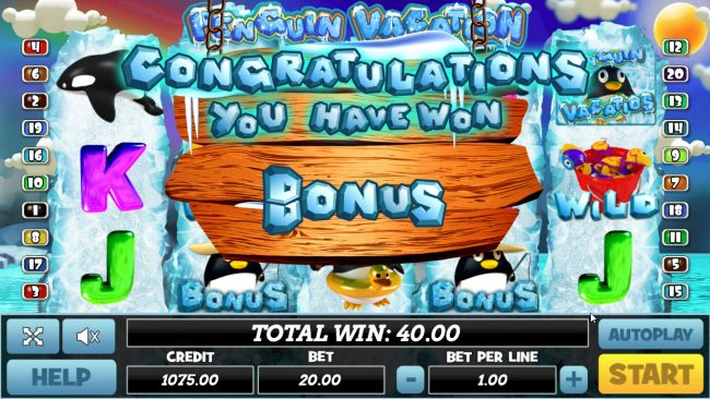 Venetian featuring the Video Slots Penguin Vacation with a maximum payout of $40,000
