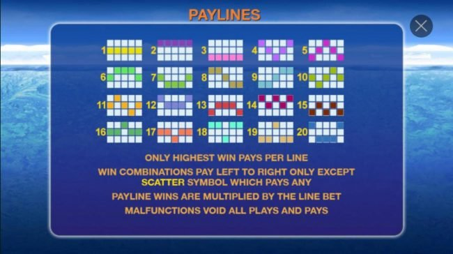 Payline Diagrams 1-20. Only highest win pays per line. Win combinations pay left to right only except scatter symbol which pays any.