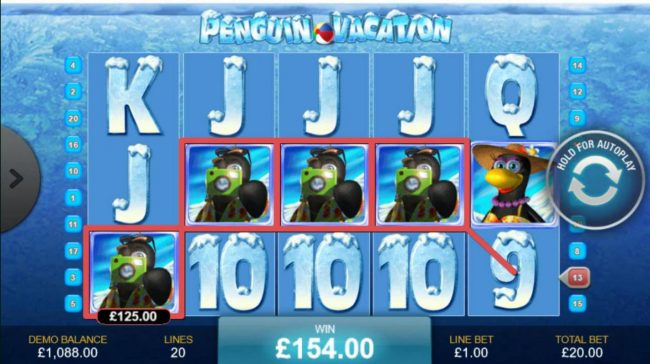 AC Casino featuring the Video Slots Penguin Vacation with a maximum payout of $10,000