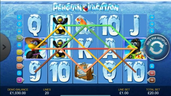 Casino.com featuring the Video Slots Penguin Vacation with a maximum payout of $10,000