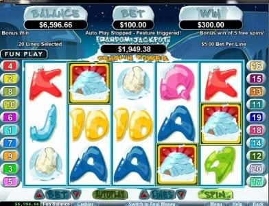 Casino Brango featuring the Video Slots Penguin Power with a maximum payout of $250,000