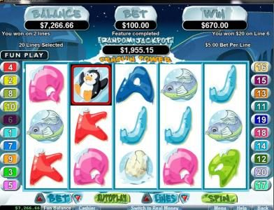 Sloto Cash featuring the Video Slots Penguin Power with a maximum payout of $250,000