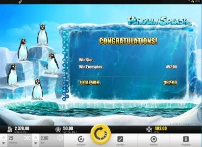 Royal Panda featuring the Video Slots Penguin Splash with a maximum payout of $40,000