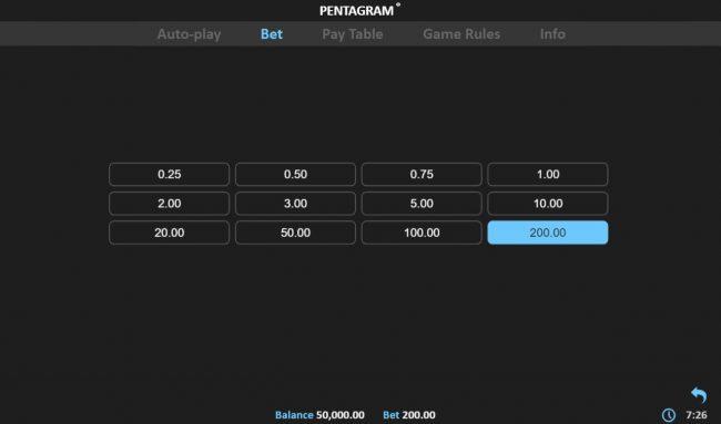 Pentagram :: Betting Options