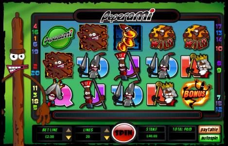 main game board featuring five reels and twenty paylines with a bonus feature