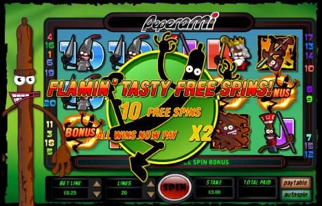 flamin' tasty free spins - 10 free spins - all wins now pay x2