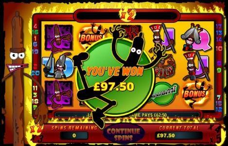 bonus feature pays out a 97.50 jackpot
