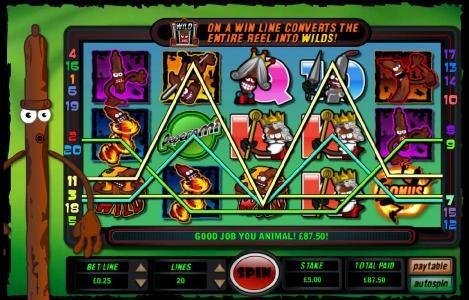 multiple winning paylines triggersan 87.50 jackpot