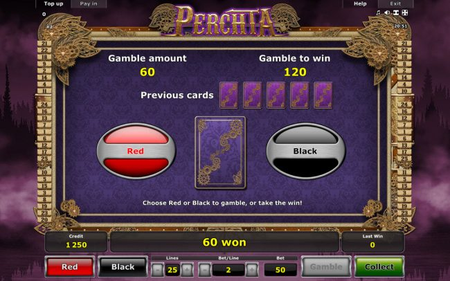 Perchta :: Red or Black Gamble feature