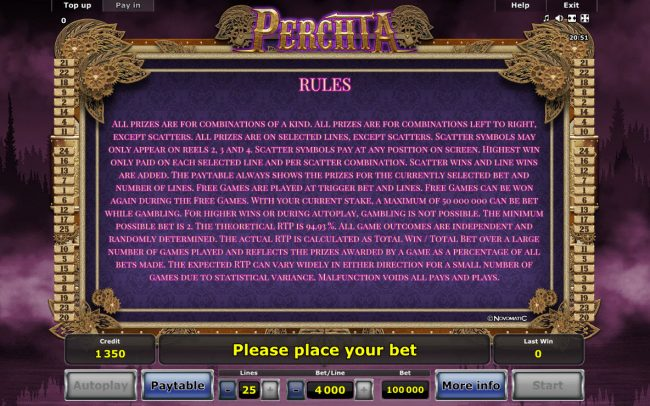 Perchta :: General Game Rules
