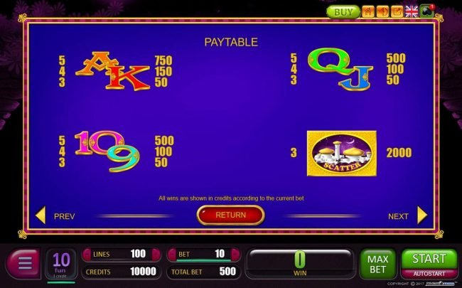 Play 24 Bet featuring the Video Slots Persian Nights with a maximum payout of Jackpot