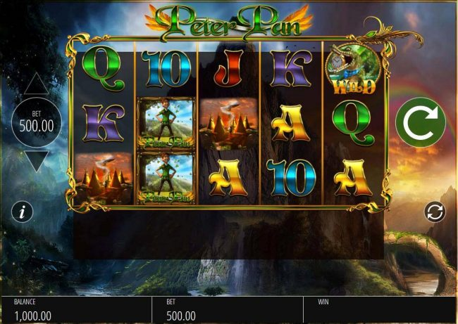 Play slots at Moon Games: Moon Games featuring the Video Slots Peter Pan with a maximum payout of $12,500
