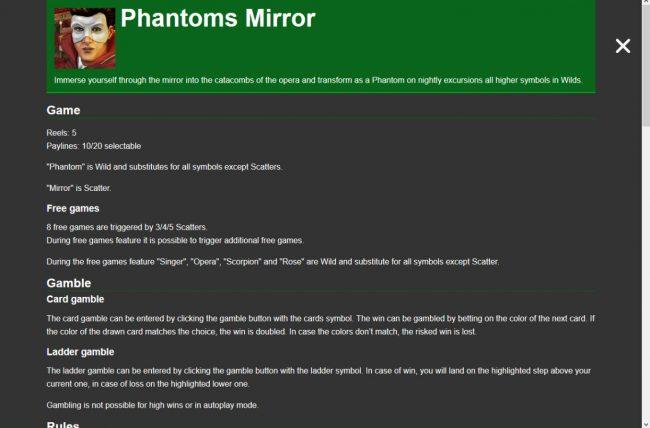 Phantom's Mirror :: General Game Rules