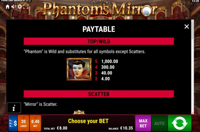 Phantom's Mirror :: Wild Symbol Rules