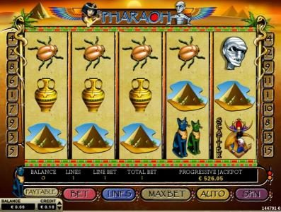 Pharaoh :: Main game board featuring five reels and 15 paylines with a $7,500 max payout
