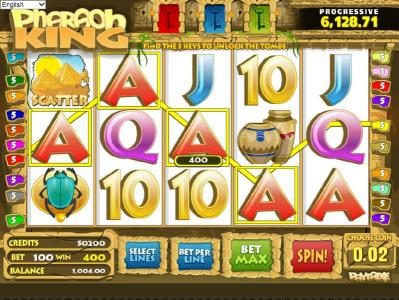 123 Vegas Win featuring the Video Slots Pharaoh King with a maximum payout of $10,000