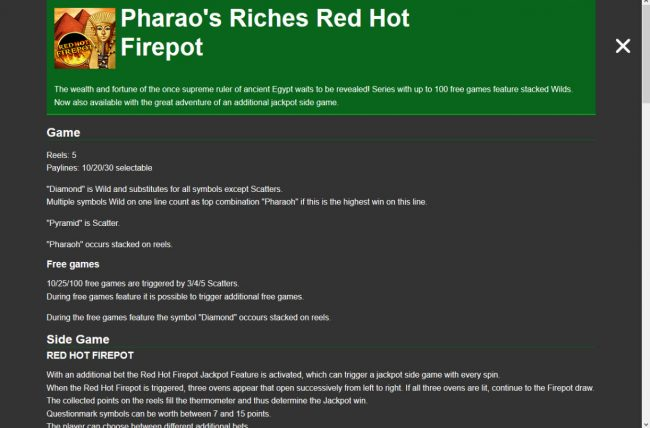 Winstar featuring the Video Slots Pharaoh's Riches Red Hot Firepot with a maximum payout of Jackpot