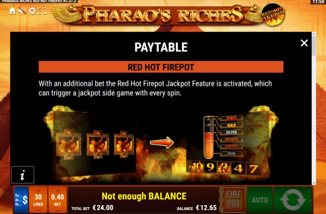 Casino Cruise featuring the Video Slots Pharaoh's Riches Red Hot Firepot with a maximum payout of Jackpot