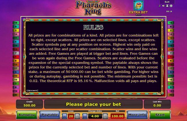 Pharaoh's Ring :: General Game Rules