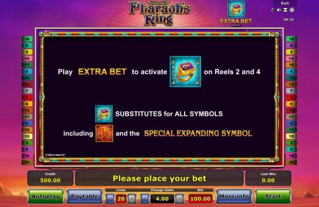 Pharaoh's Ring :: Extra Bet