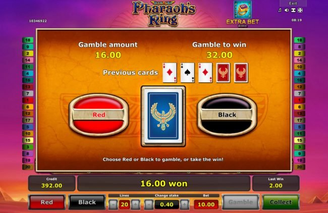 Pharaoh's Ring :: Card Gamble Feature Game Board