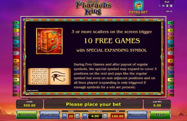 Pharaoh's Ring :: Scatter Symbol Rules