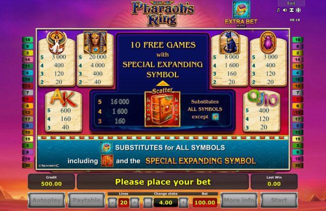 Pharaoh's Ring :: Paytable