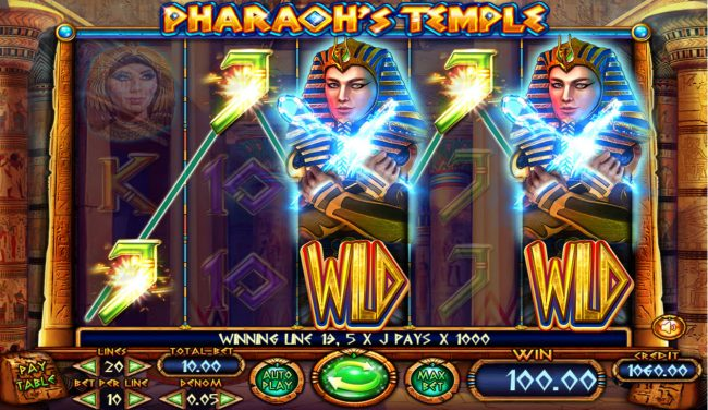 Jellybean Casino featuring the Video Slots Pharaoh's Temple with a maximum payout of $10,000