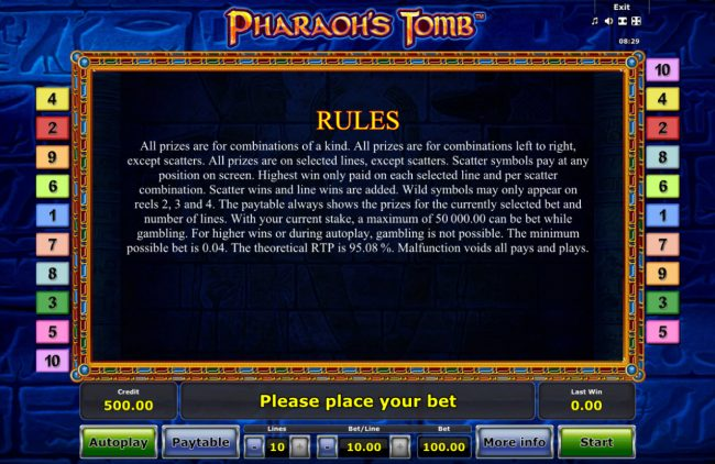 Pharaoh's Tomb :: General Game Rules