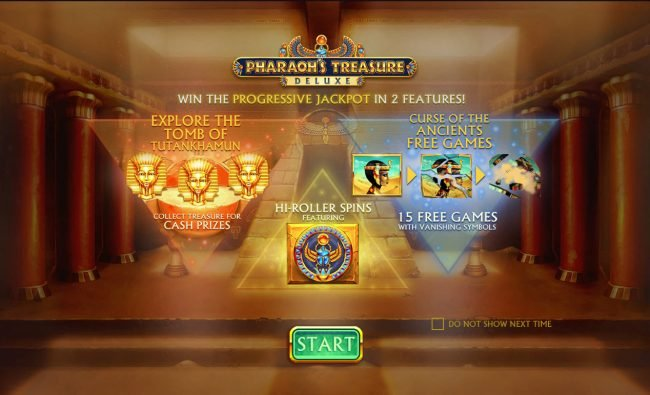 Fly Casino featuring the Video Slots Pharaoh's Treasure Deluxe with a maximum payout of $100,000