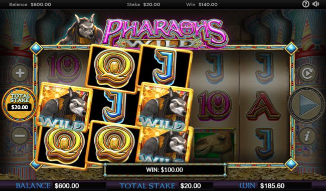 Cheeky Riches featuring the Video Slots Pharaohs Wild with a maximum payout of $250,000