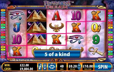 Play slots at All British: All British featuring the Video Slots Pharaoh's Dream with a maximum payout of $5,000