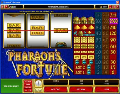 Trada featuring the video-Slots Pharaoh's Fortune with a maximum payout of $37,500
