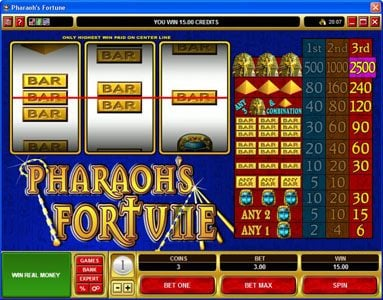 Monaco Aces featuring the video-Slots Pharaoh's Fortune with a maximum payout of $37,500