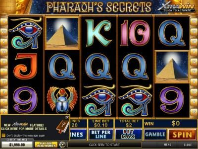 Pharaoh's Secrets :: Main game board featuring five reels and 20 paylines with a $100,000 max payout