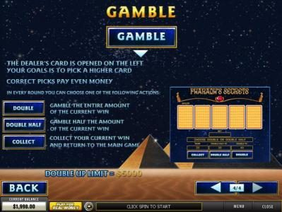 Pharaoh's Secrets :: Gamble Feature Games Rules