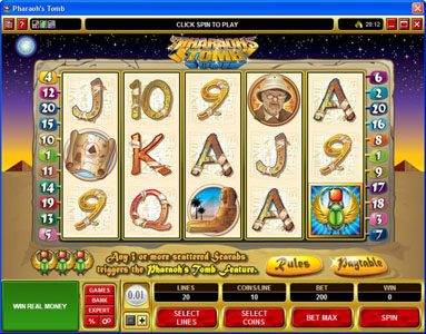 Yukon Gold featuring the video-Slots Pharaoh's Tomb with a maximum payout of $60,000
