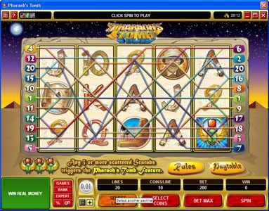 River Nile featuring the video-Slots Pharaoh's Tomb with a maximum payout of $60,000