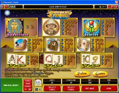 Villento featuring the video-Slots Pharaoh's Tomb with a maximum payout of $60,000