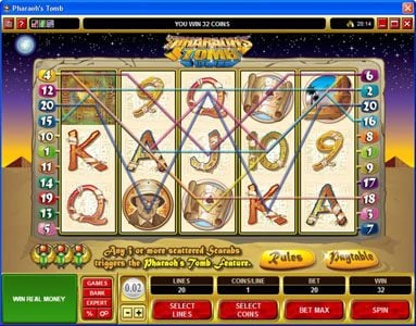 Blackjack Ballroom featuring the video-Slots Pharaoh's Tomb with a maximum payout of $60,000