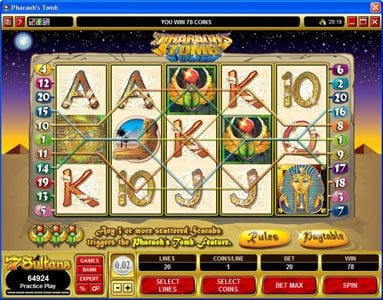 Captain Cooks featuring the video-Slots Pharaoh's Tomb with a maximum payout of $60,000